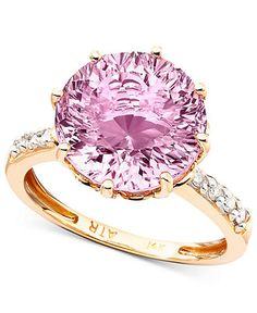 14k Rose Gold Pink Amethyst (6-3/4 ct. t.w.) & Diamond Accent Ring - Gemstones - Jewelry & Watches - Macy's