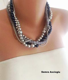 SET Navy Blue Silver Crystal  Glass  Pearl Necklace  and Bracelet    Brides Jewelry Bridsmaids Gifts
