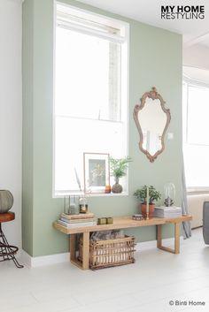 Afbeeldingsresultaat voor muur huiskamer lichtgroen