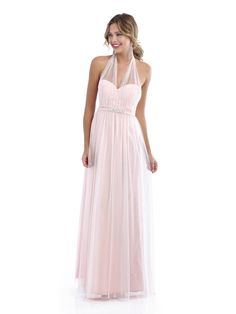 4234: Long tulle bridesmaid dress with sweetheart neckline, beaded waistband and adjustable tulle overlay
