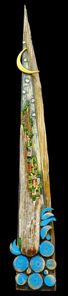 #sea village on #wood #mosaic, see more on Fb https://www.facebook.com/pages/Silvia-Logi-Artworks/121475337893535