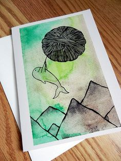Whale Floating On A Yarn Ball Greeting Card  Blank by AtomicWhale, $3.50