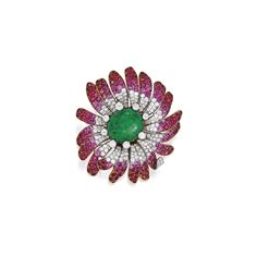 18 Karat Gold, Platinum, Emerald, Colored Stone and Diamond Brooch, Bulgari Of floral design, centering one oval-shaped cabochon emerald measuring approximately 23.5 by 20.5 mm, the petals set with round and single-cut rubies and pink sapphires, accented by numerous round diamonds weighing approximately 13.95 carats, gross weight approximately 45 dwts, signed Bulgari; circa 1970.