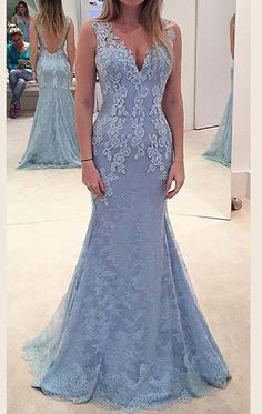 337fc49e065 MACloth Mermaid Straps V Neck Lace Maxi Prom Dress Sky Blue Formal Gown  Long Prom Gowns