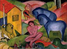 Autor: Franz Marc Obra: El sueño Año: 1912 Técnica: Óleo sobre lienzo. 100,5 x 135,5 cm Museo Thyssen-Bornemisza, Madrid Nº INV. 660 (1978.15)