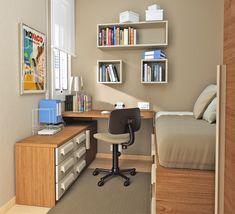 Cómo aprovechar el espacio en una habitación juvenil pequeña. #habitación #juvenil #pequeña #decoración #hogar
