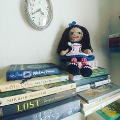 To wrap up the #YarnLoveChallenge I leave you with # 28: Favorite Thing I've Made   This little Alice doll is still my most favorite thing I've made.  She sits in my craft room up on some of my favorite books.    #YarnAddict #YarnLove #CrochetersOfInstagram #Crochet #Crocheting #Crocheted #MakersGonnaMake #MakersMovement #Handmade #CustomCrochet #AliceInWonderland #Alice #Wonderland #Favorites