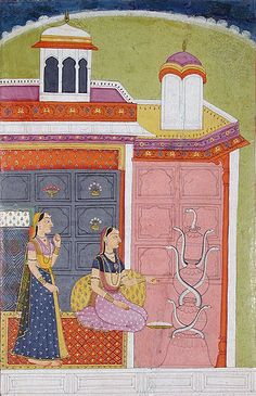 Ahiri Ragini - a woman feeds 7 snakes in clay pots. Jammu, Rajasthan, 1750. This is related to the Naga Cult.
