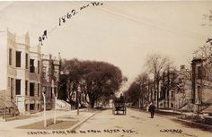 This image of Central Park N. of Ogden Ave. in Chicago's North Lawndale neighborhood circa 1908 tells a wonderful story of a newer neighborhood, families, and hard work. Note the classic Chicago gray stone two-flats that are under construction on the left side of the image and the men going to and from work. That area has seen better days but is still a fascinating place to visit and explore.
