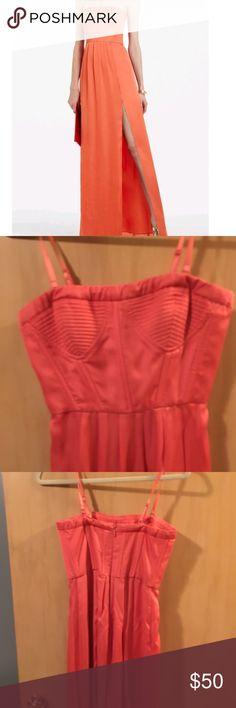 Bcbgmaxazira maxi formal dress coral corset bodice Bcbg maxazira maxi formal dress coral corset bodice - removable straps. Worn 2 times. BCBGMaxAzria Dresses Prom