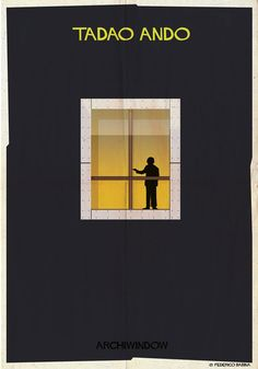 Architect silhouettes pose inside iconic windows for Federico Babina's Archiwindow series.