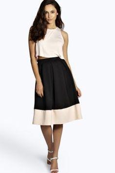 Leah Colour Block Full Box Pleat Midi Skirt