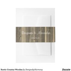 Rustic Country Wooden Invitation Belly Band