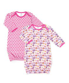 Another great find on #zulily! Pink Owl & Hexagon Gown Set - Infant by Tadpoles #zulilyfinds