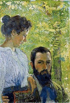 Self-Portrait with wife (1899) by Cuno Amiet (1868-1961)