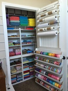 Closet rods for stuff on the roll. Scrapbook Room Organization, Craft Closet Organization, Ribbon Organization, Ribbon Storage, Craft Room Storage, Diy Storage, Cricut Craft Room, Craft Rooms, Wrapping Paper Station