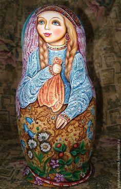 657  Купить Матрешка Красна Девица - разноцветный, матрешка авторская, матрешка коллекционная, матрешка расписная