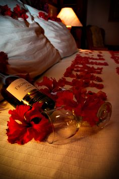 romantic wine and petals #honeymoon #romantic weekend