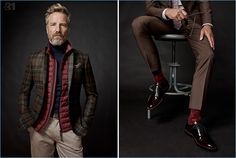 Layering for fall, Rainer Andreesen wears a wool jacket, turtleneck, quilted vest, and stretch chinos by LE 31.