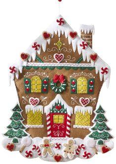 Amazon.com: BUCILLA 86585 Nordic Gingerbread House Advent Calendar Felt Applique Kit, 18 by 25-Inch