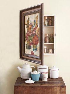 Hidden picture cabinet for bathroom