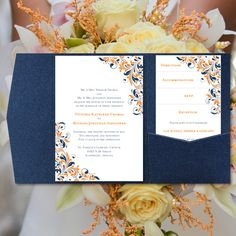 "DIY Pocketfold Wedding Invitations ""Flourish"" Orange Navy Blue Printable Word Templates Instant Download Order Any 1 or 2 Colors  You Print on Etsy, $40.00"