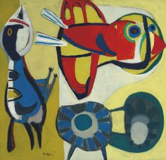 Karel Appel (1921-2006) Two Birds And A Flower 1951 (114,5 x 120 cm)