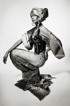 """DENIM INDIA"" Photography / kuvat: Pauli Siuruainen Styling / staili: Outi Les Pyy Clothes: OutsaPop Trashion, Paula Vasara / Remake Ekodesign, Fida Lähetystorit Makeup / meikki: Senay Coco Hairstylist / Hiukset: Demi Ramadani (Luomus) & Eetu Heinonen Models / mallit: Sani & Emilia (Brand model mgmt)"