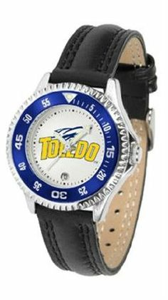 Toledo Rockets NCAA Womens Leather Wrist Watch by SunTime. $72.95. Showcase the hottest design in watches today! A functional rotating bezel is color-coordinated to compliment your favorite team logo. A durable long-lasting combination nylon/leather strap together with a date calendar round out this best-selling timepiece.. Save 21% Off!