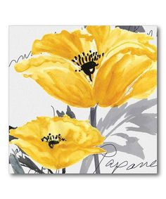 Look what I found on #zulily! Poppy Yellow & Gray I Gallery-Wrapped Canvas #zulilyfinds