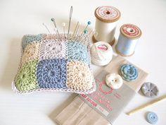 crochet pincushion Mabel shabby chic blue beige grey by emmalamb