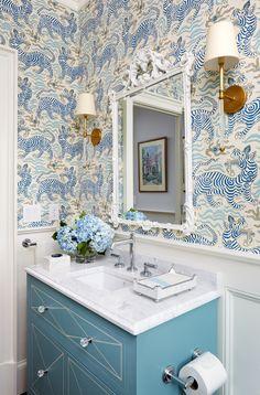 pamela harvey is the best at colors - interior designer - blue home Interior Design Trends, Bathroom Interior Design, Home Interior, Interior Design Inspiration, Dream Bathrooms, Beautiful Bathrooms, White Bathrooms, Luxury Bathrooms, Master Bathrooms