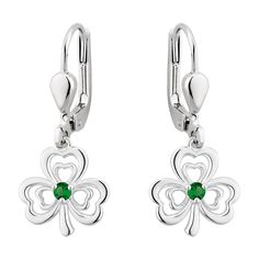 Not only do these earrings feature green crystals in keeping with the aesthetic of the Emerald Isle; they are also crafted in iconic shamrock shapes. Fields, Celtic, Jewellery, Drop Earrings, Sterling Silver, Crystals, Green, Jewels, Schmuck