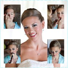 Collage of the bridal makeup process