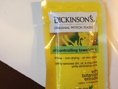 individual packet of #DickinsonsWitchHazel oil control towelettes