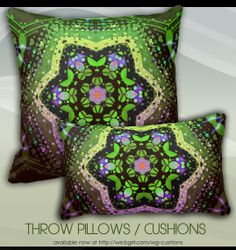 Green Pink Ombre Geometric Decorative Cushion by webgrrl #home #decor #cushions #pillows #bedroom