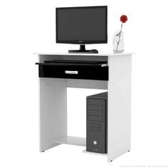 Mesa para Computador/Escrivaninha 1 Gaveta Pratica Preto/Branco - EJ Móveis
