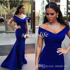Royal Blue Elegant Long Evening Dresses 2015 Off the Shoulder Cap Sleeve Satin…