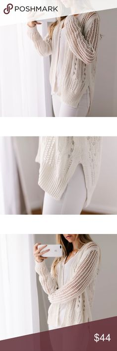 🆕Southampton Knit Cardigan ◽️Simply stunning ivory cardigan. Flattering side slits, buttons have the look of mother of pearl, impeccable knit. Top quality, could easily be a designer piece. 100% cotton, comfy, has a nice weight to it, not itchy. Depending on how you layer it, this is a piece that can be worn year round. I am modeling S. New.   ▫️Price is firm▫️10% off bundles of 3+  📷Photos are my own 11thstreet Sweaters Cardigans