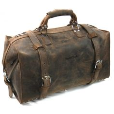 c8bc9f7aee09 DRIFTER - Leather Overnight GYM Travel Duffle Bag L08 Vintage BRN