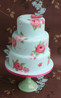 Blue Painted Rose Wedding Cake
