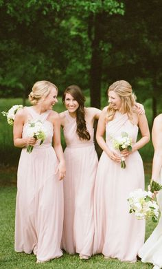 Blush bridesmaid dresses will add a romantic feel to your wedding day. | Kennedy Blue Bridesmaids | Photo by Sweet Julep Photography