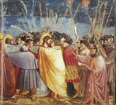 This is Giotto's 'Betrayal of Christ', a scene from his fresco cycle of the Life of Christ in the Arena Chapel in Padua. this is an example of a naturalism painting. GIOTTO 'The Betrayal of Christ', (Fresco Italian Renaissance Art, Renaissance Kunst, Renaissance Artists, Renaissance Paintings, Medieval Art, Fresco, Fra Angelico, Life Of Christ, Templer