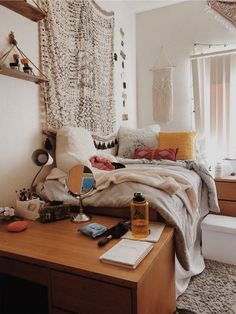 VSCO ky-p- A mix of mid-century modern bohemian and industrial interior style. Home and apartment decor decoration ideas home design bedroom l College Bedroom Decor, Boho Dorm Room, Cute Dorm Rooms, College Dorm Rooms, Bedroom Apartment, Apartment Living, Apartment Kitchen, Apartment Ideas, Apartment Design