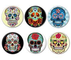 LOT DE 6 Badges Calavera Tête DE Mort Mexicaine Sugar Skull Tattoo Tatouage | eBay