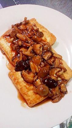 「ごはんに合う☆豆腐ステーキのきのこあんかけ」安い、ヘルシー、簡単な一品☆激旨のきのこあんは、ご飯にかけて、丼にしてもいいよ☆☆【楽天レシピ】