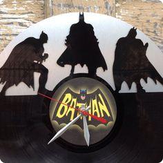 Reloj de vinilo vinilo BATMAN re-purposed reciclado por ReSpinIt