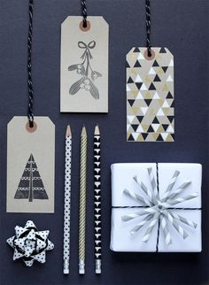 Black and white gift wrap.