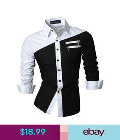 Casual Shirts Jeansian Men's Long Sleeves Slim Fit Dress Shirts Casual Hombre Camisas M6_Z015 #ebay #Fashion