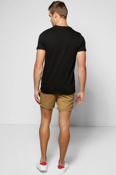 0cb7ecaed06c Cotton Twill Chino Shorts With Turn Ups at boohoo.com Chino Shorts